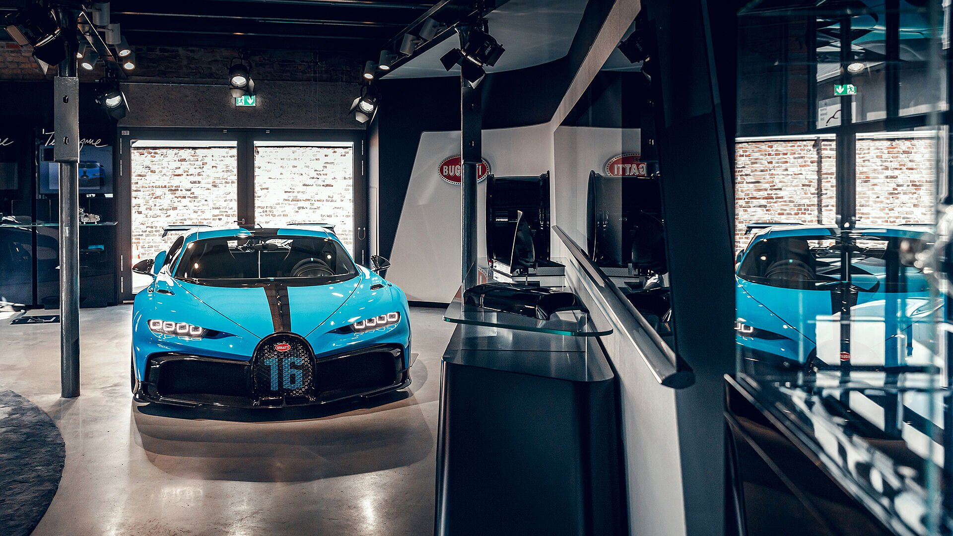 The Chiron Pur Sport in the Frankfurt showroom.