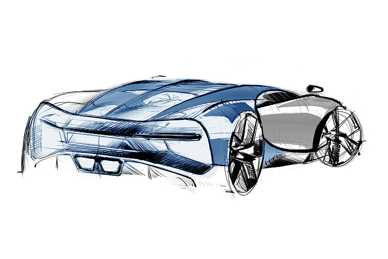 [Translate to Deutsch:] Bugatti Chiron Sketch