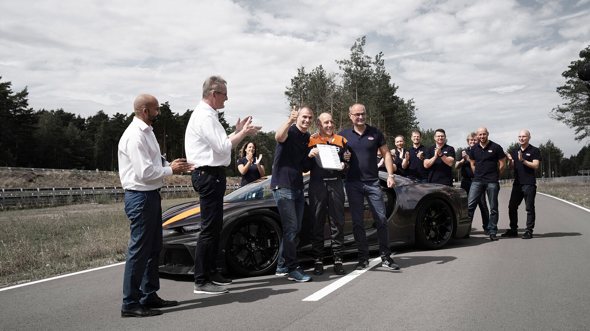 Stephan Ellrott and his team on the day the Bugatti Chiron Super Sport 300+ broke the magical 300-mile-per-hour barrier.